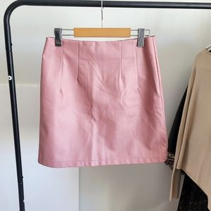 Vegan Leather Pink Skirt